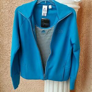 Adidas turquoise jacket with matching tank